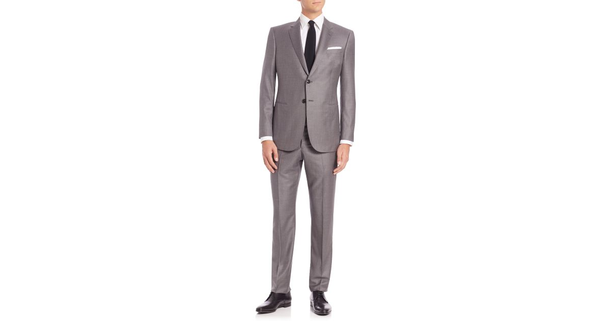giorgio armani wall street wool amp cashmere suit in gray