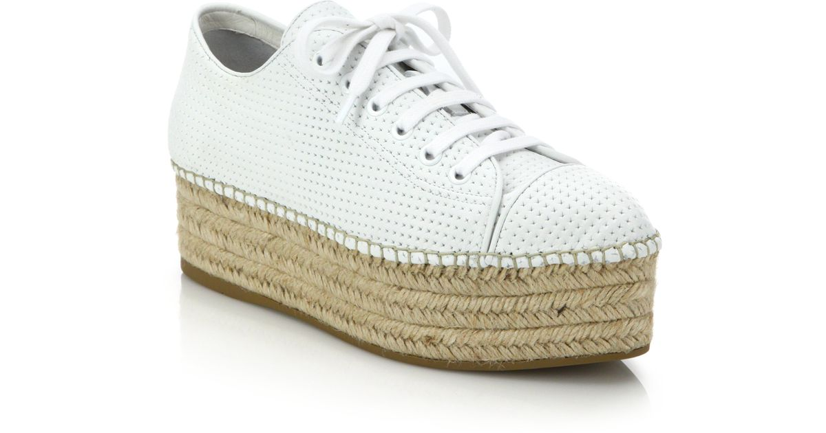 0fb6172cb20 Lyst - Miu Miu Perforated Leather Lace-up Esapdrille Sneakers in White