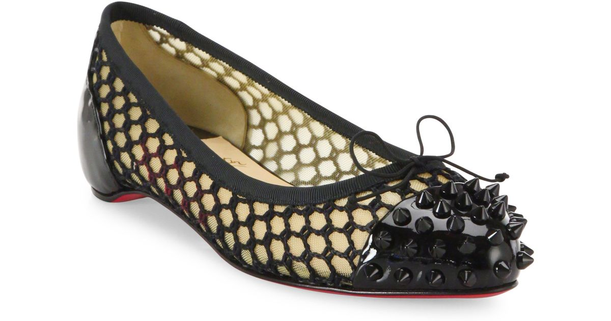 e43da005832e Lyst - Christian Louboutin Mix Spiked Patent Leather   Mesh Flats in Black