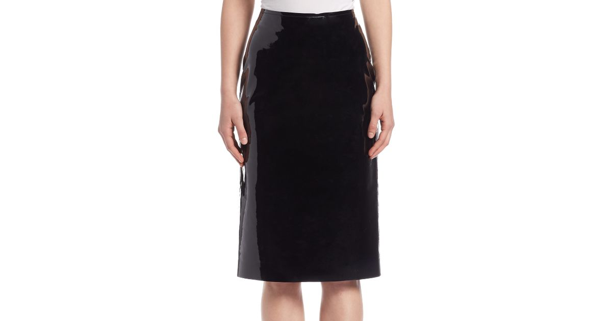 lanvin patent leather pencil skirt in multicolor lyst