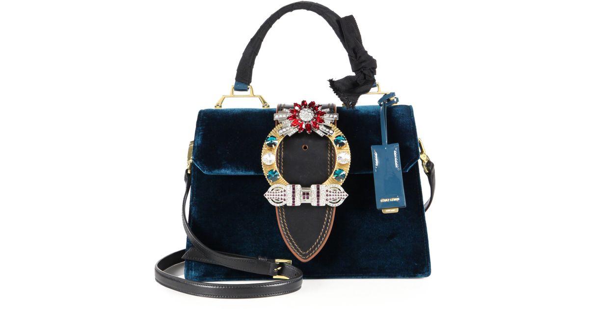 d4387939d4 Lyst - Miu Miu Velvet   Crystal Top-handle Bag