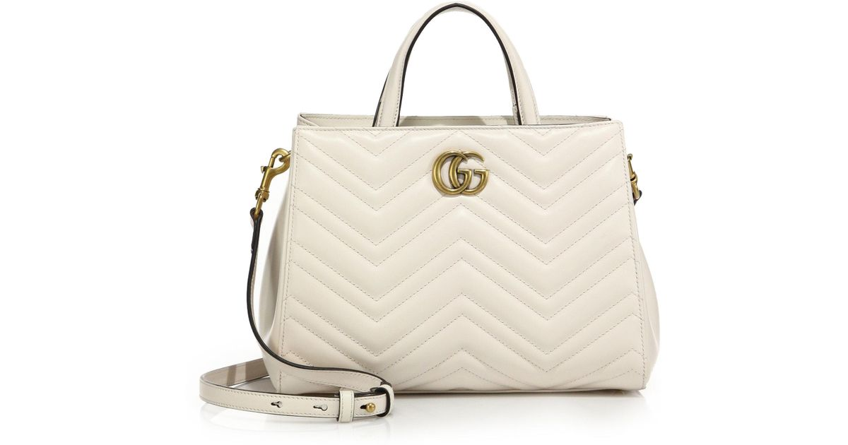 1399c3e13eef Gucci GG Marmont Matelasse Leather Top-Handle Tote in White | Lyst