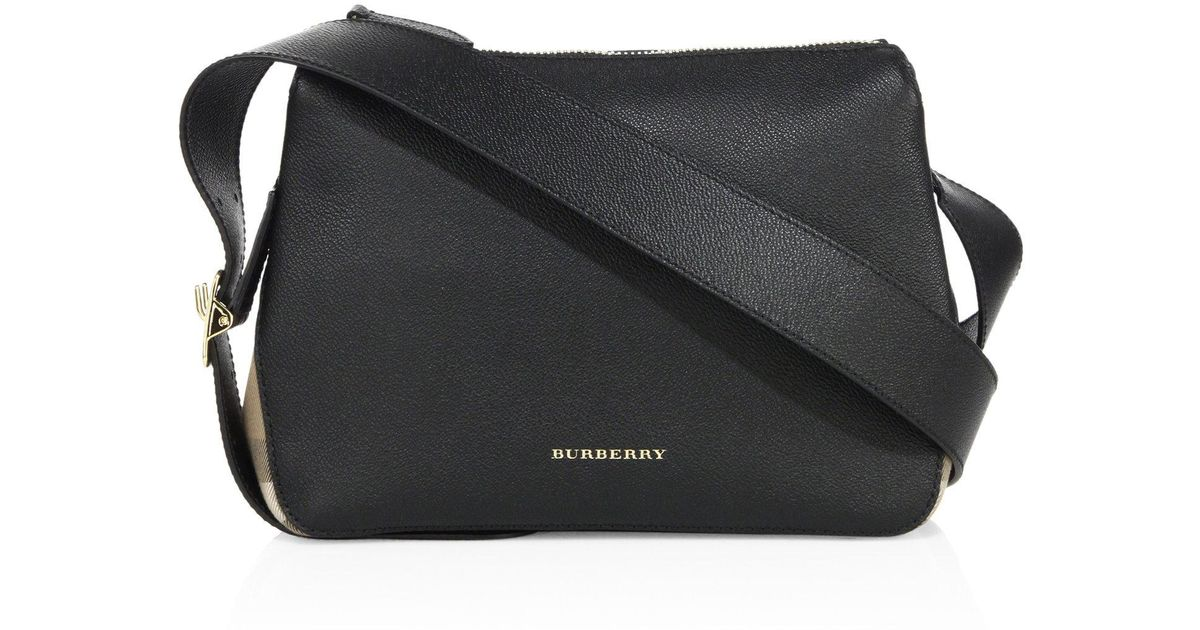 1c7617aa8780 Lyst - Burberry Helmsley Small Leather   House Check Crossbody Bag in Black
