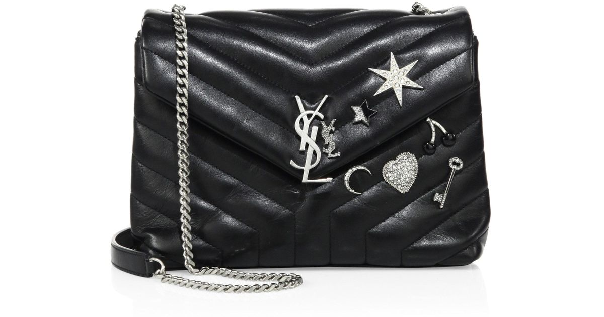 5367433f214f Lyst - Saint Laurent Small Lou Lou Charm-embellished Leather Chain Shoulder  Bag in Black