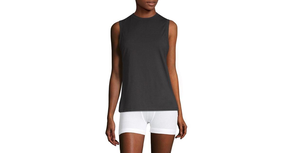 be7204f3006d5d Lyst - Calvin Klein Sleeveless Crew Neck Tank Top in Black - Save 14%