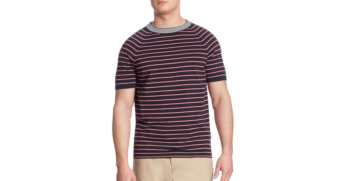 03b7c71c Tommy Hilfiger Knitted Striped Tee in Blue for Men - Lyst