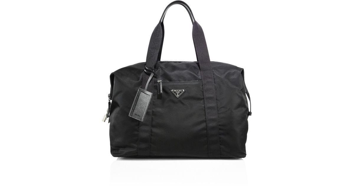 a28c4dd70ee3fa Prada Men's Sacca Weekender Duffle Bag - Black in Black for Men - Lyst
