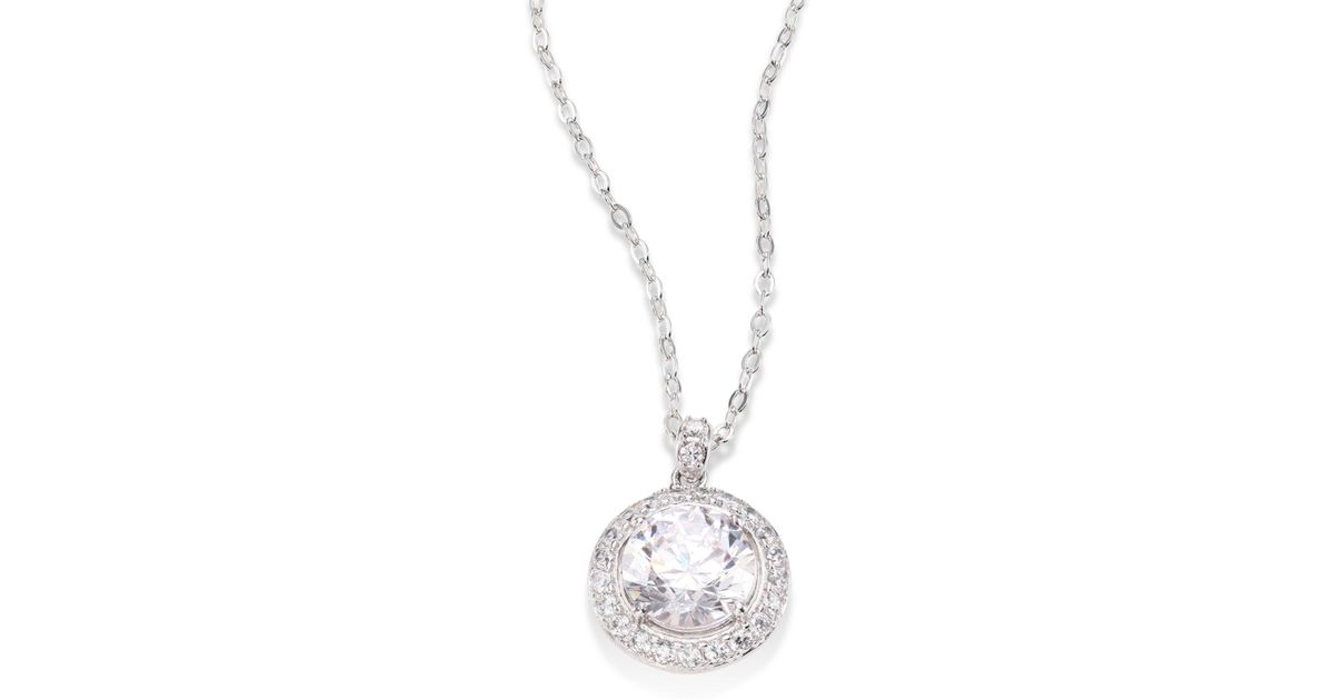 Lyst adriana orsini round crystal pendant necklace in metallic mozeypictures Gallery