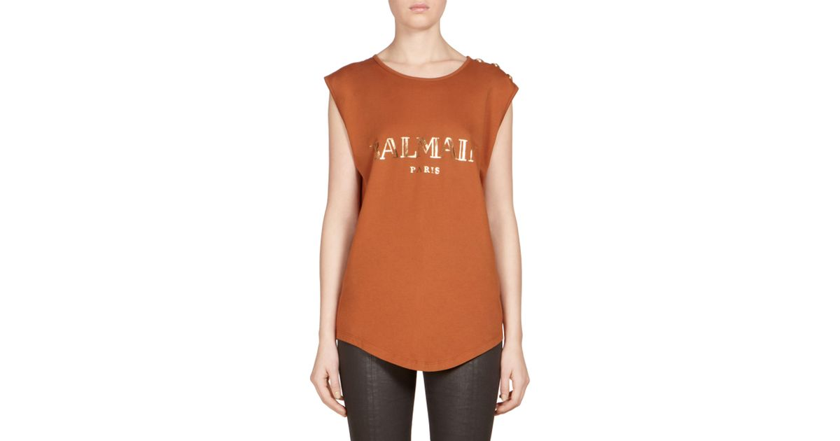 ca8049ec Lyst - Balmain Button-detail Logo Muscle Tee in Brown