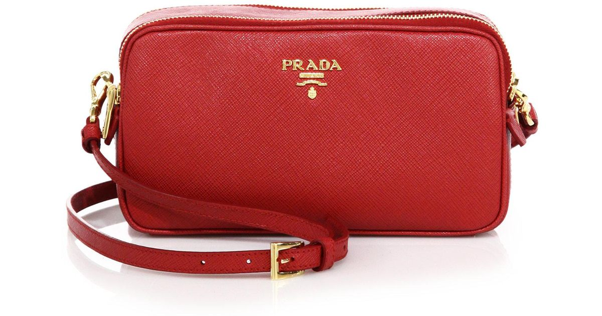 09f3d08dc3f8 ... shopping lyst prada saffiano leather camera bag in red 3bbc9 0b6ee