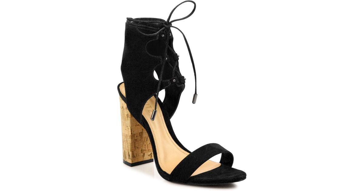 90e4cf9297d Lyst - Schutz Cruz Lace-up Suede Block Heel Sandals in Black