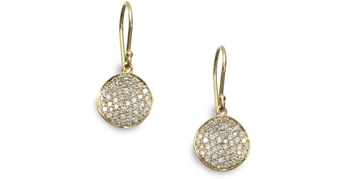 Lyst Ippolita Stardust Diamond 18k Yellow Gold Disc Earrings In Metallic