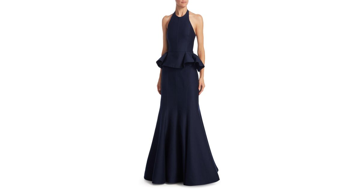 Lyst - Halston Heritage Flared Ruffled Evening Gown in Blue - Save ...
