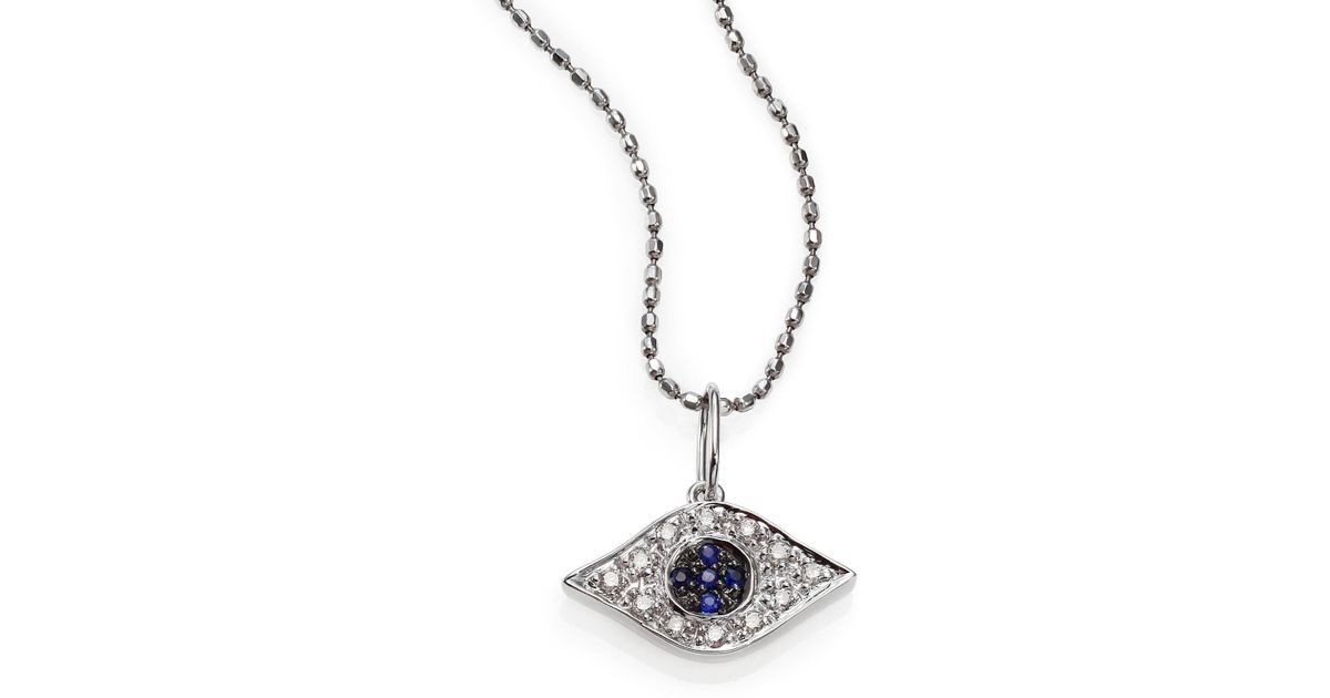 Lyst sydney evan diamond sapphire 14k white gold small evil eye lyst sydney evan diamond sapphire 14k white gold small evil eye pendant necklace in metallic aloadofball