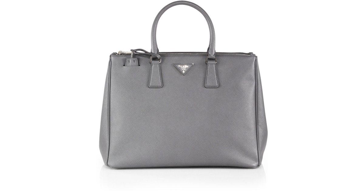 eda828e4b9fe Prada Saffiano Lux Large Double-zip Tote in Gray - Lyst