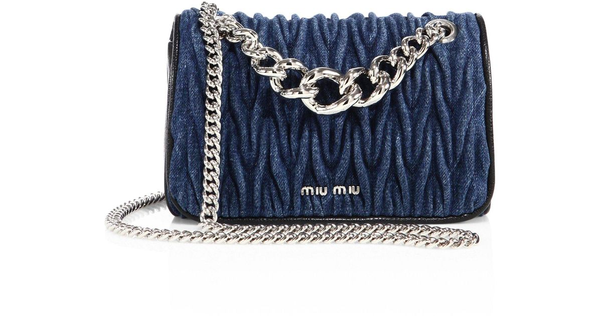 7b10c4b05a8b Lyst - Miu Miu Club Matelasse Denim Chain Shoulder Bag in Blue