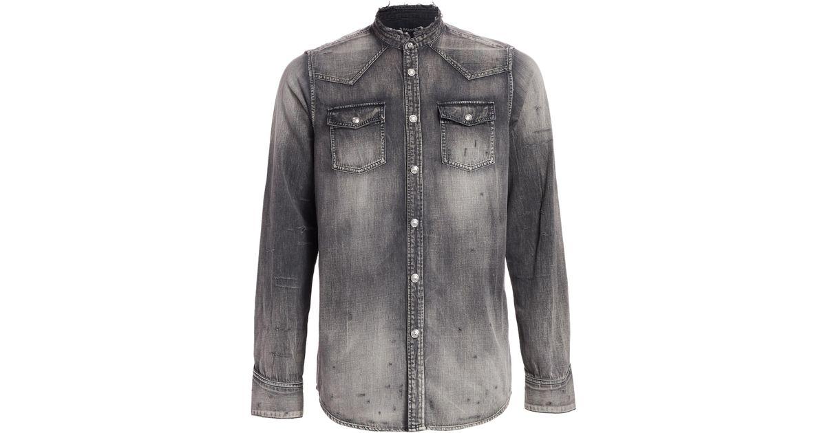 7fa14357 Balmain Men's Western Destroyed Denim Shirt - Black in Black for Men - Lyst