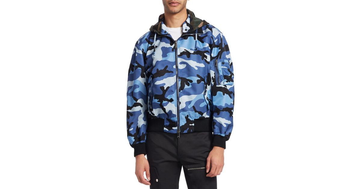 bc4e9811f74ca Valentino Camouflage Bomber Jacket in Blue for Men - Lyst