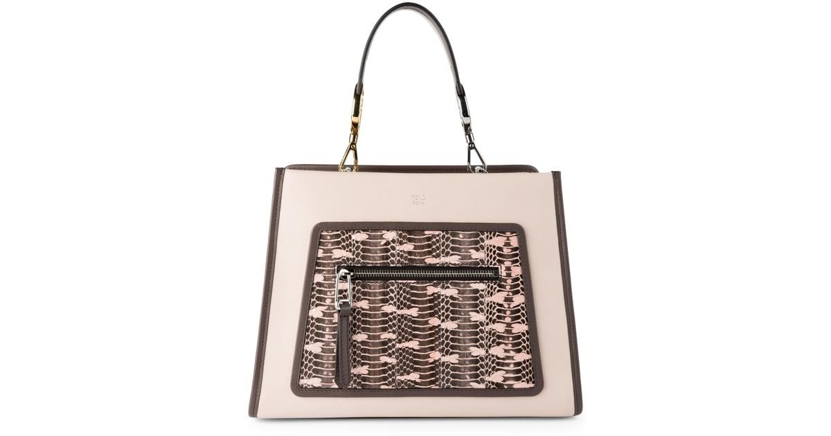 7ab0b36098a673 Fendi Small Runaway Snake & Leather Bag - Lyst