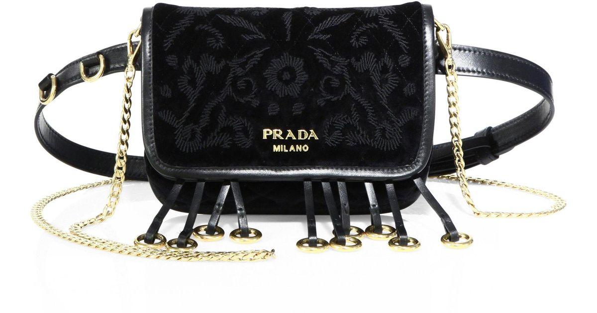 f088520d85a4 Lyst - Prada Floral-embroidered Velvet Belt Bag in Black
