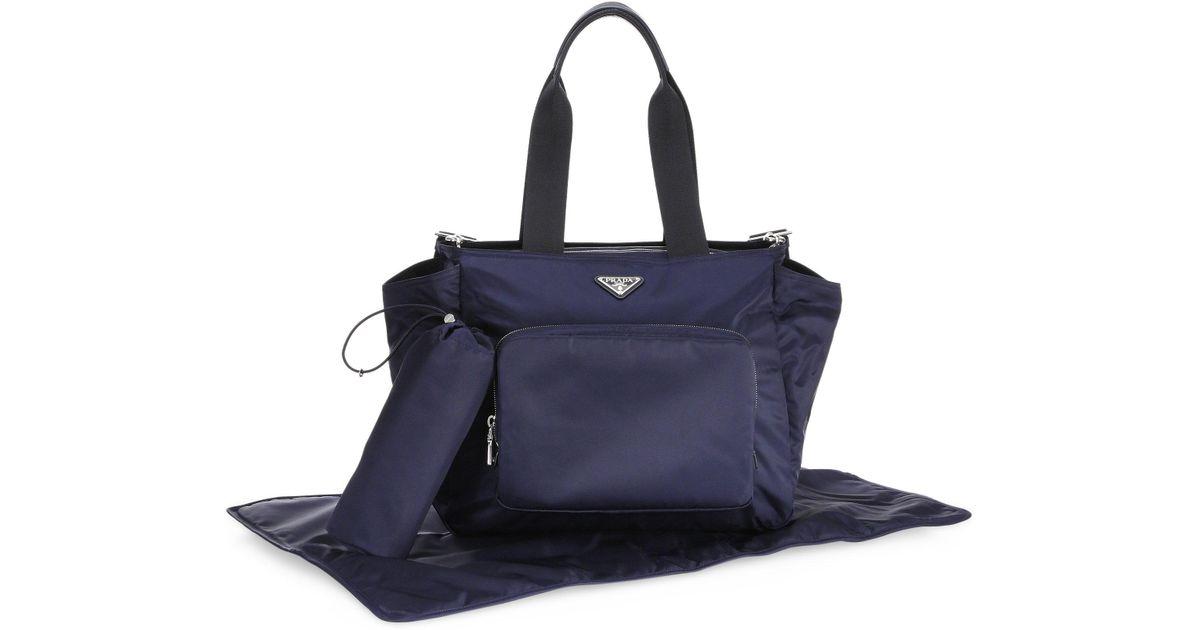 8e90fa42a900 ... italy lyst prada nylon diaper bag in blue 2d7f0 b3df4