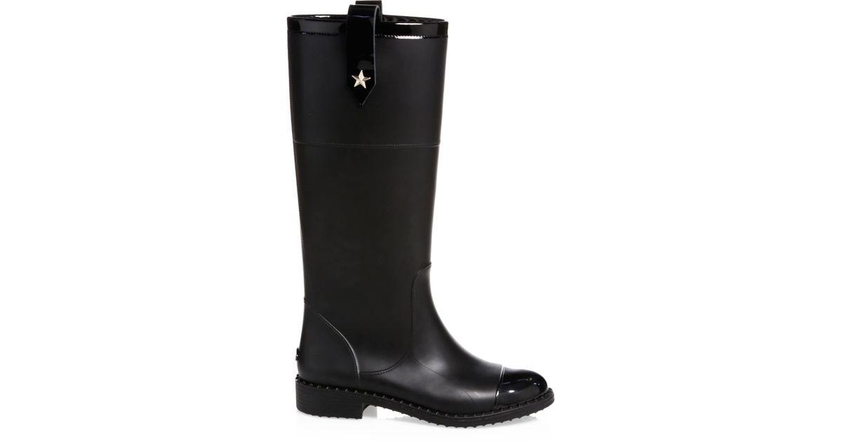 8fb8828093 Jimmy Choo Women's Edith Knee-high Rubber Rainboots - Black in Black - Lyst