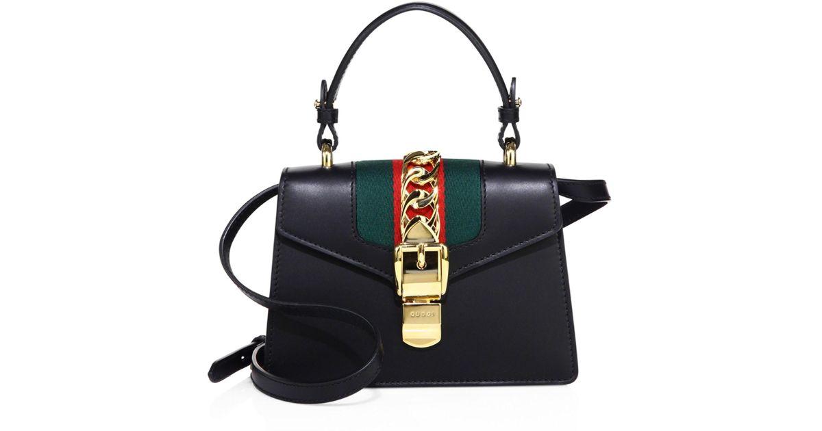 abc947a0990 Lyst - Gucci Mini Sylvie Leather Shoulder Bag in Black