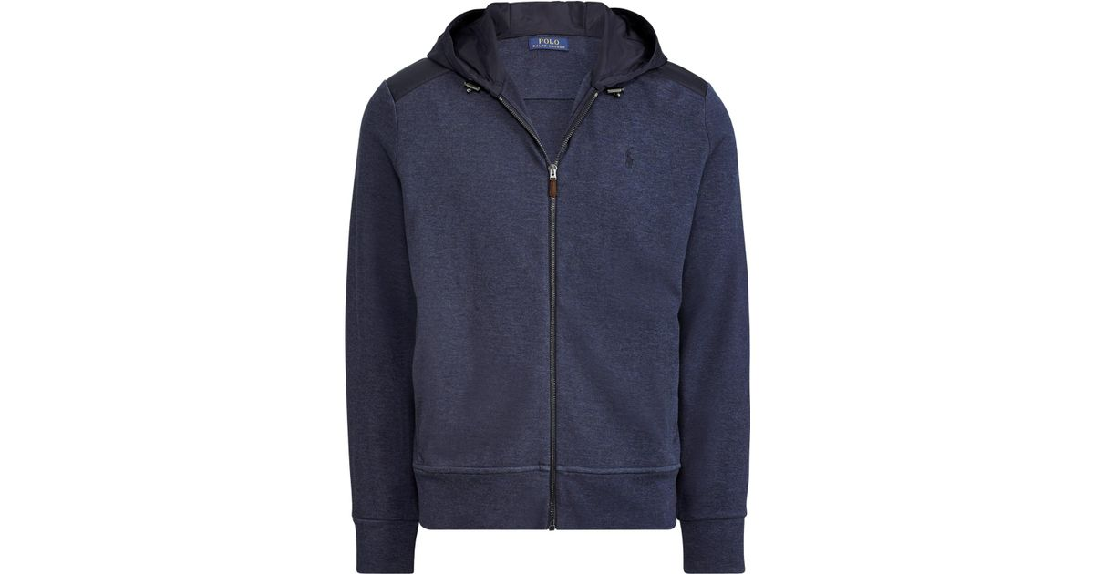 fa47815eb Lyst - Polo Ralph Lauren Cotton Blend Jacquard Zip Hoodie in Blue for Men