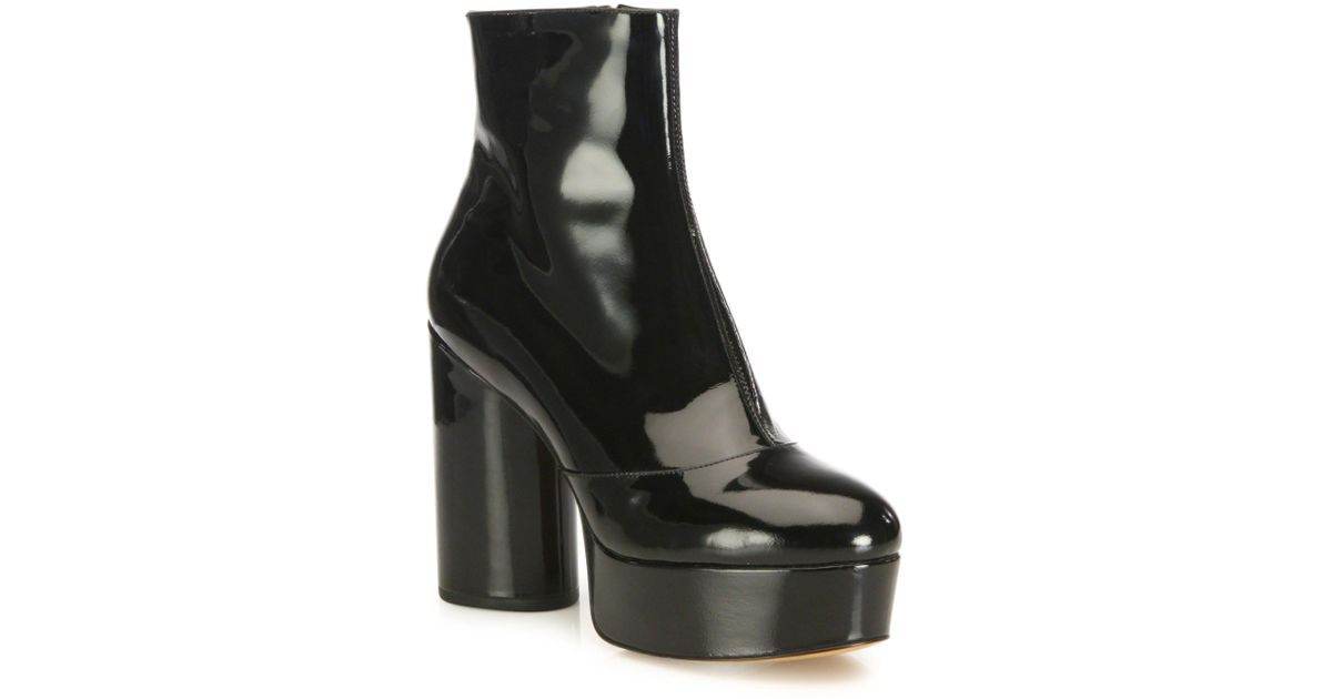 00bb2c6ec814 Lyst - Marc Jacobs Amber Patent Leather Platform Boots in Black