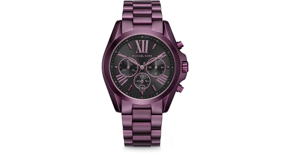 c2118b26ac Michael Kors Bradshaw Plum Ip Stainless Steel Bracelet Watch in Purple -  Lyst