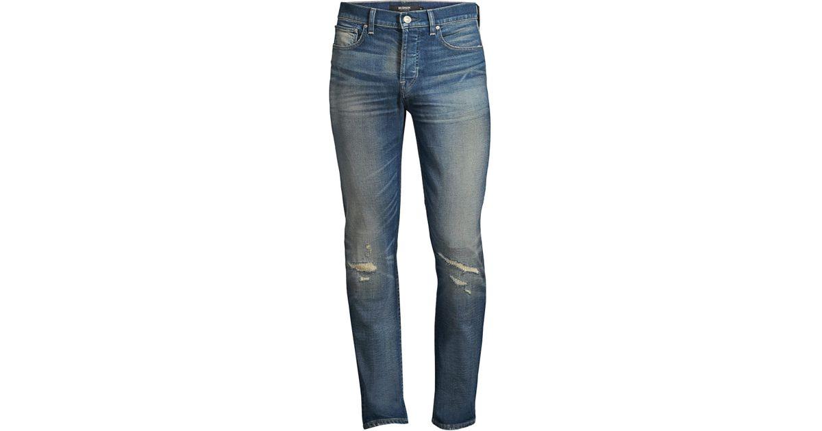 c3d72686a5d Lyst - Hudson Jeans Men's Axl Skinny Mended Jeans - Mended in Blue for Men