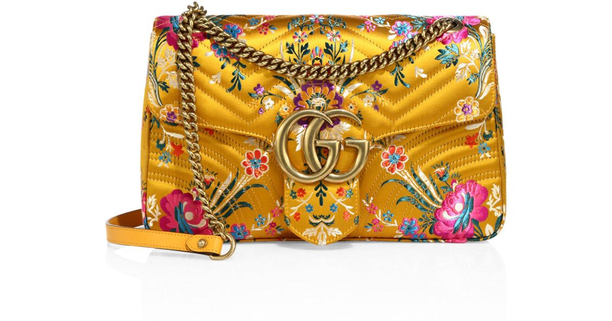 782f485bb Gucci Small Gg Marmont Matelasse Floral Jacquard Chain Shoulder Bag in  Yellow - Lyst