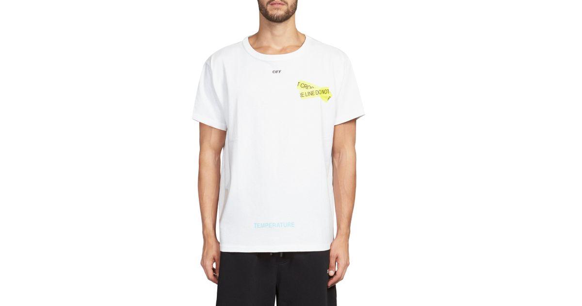 baa20d617936 Off-White c o Virgil Abloh Fire Tape T-shirt in White for Men - Lyst