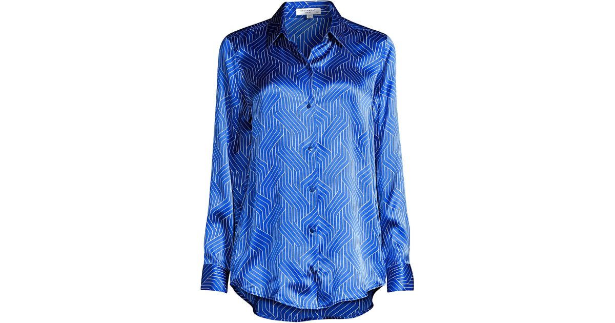 980327b20936d3 Lyst - Equipment Women s Essential Geometric-print Silk Shirt - Blue - Size  Large in Blue