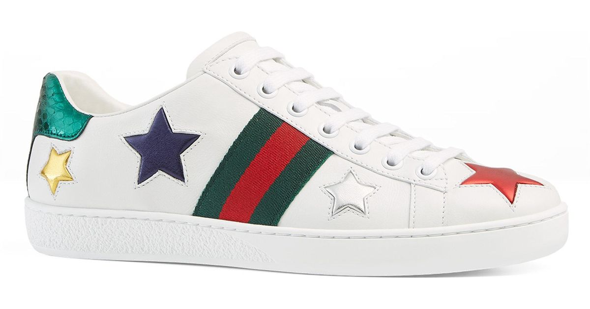 Lyst Gucci New Ace Star Leather Low Top Sneakers In White