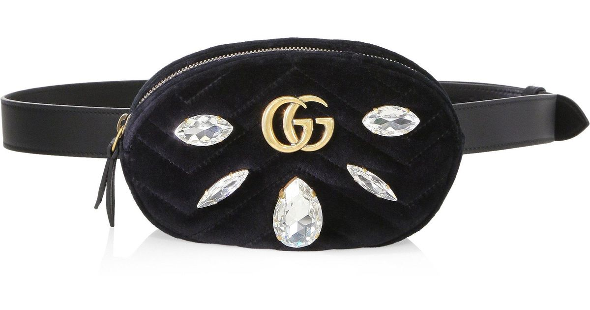 0cc6be0760e7 Gucci Crystal Applique Velvet Fanny Pack in Black - Lyst