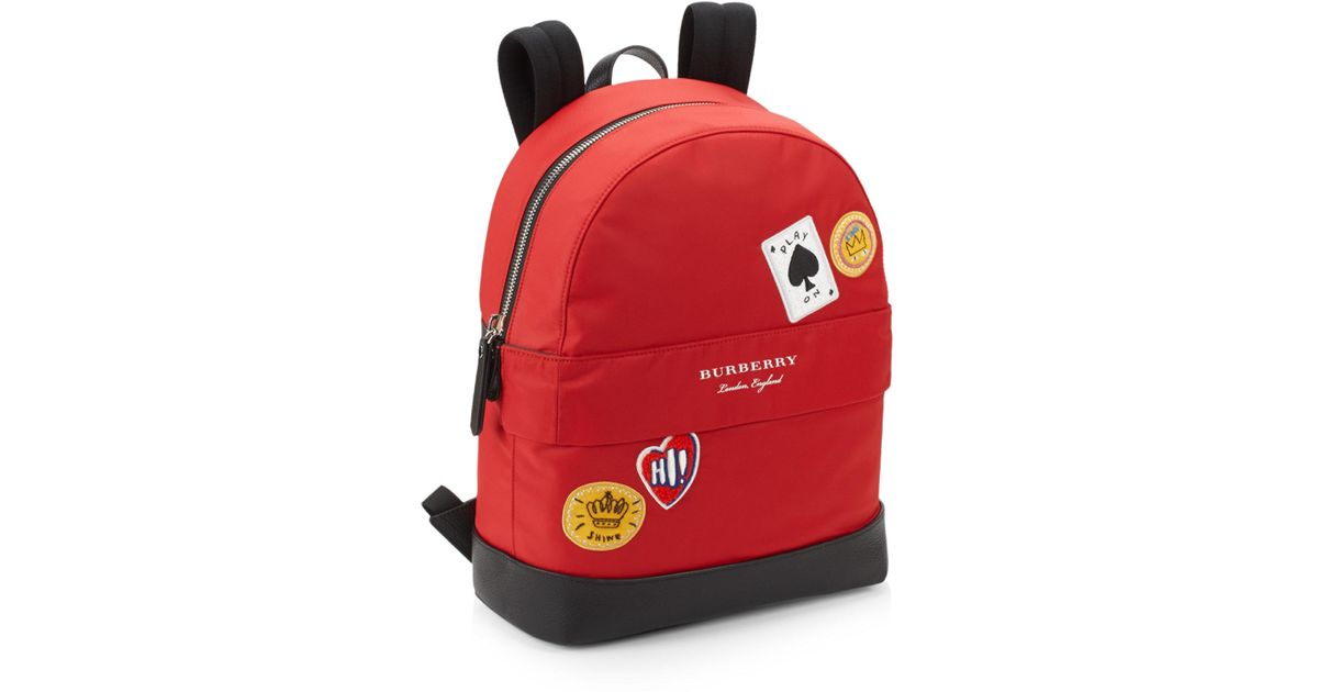 Burberry Kid S Nico Cards Patch Backpack In Red Lyst