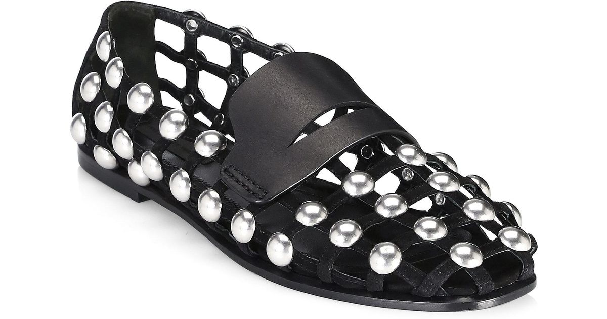 c1a2f0d4d29 Alexander Wang Sam Studded Suede Shoe in Black - Lyst