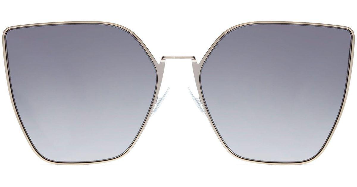 8db2a2544a79 Lyst - Fendi Women s 63mm Oversized Geometric Sunglasses - Lightgold in Gray
