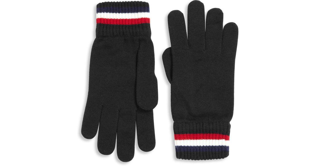 d87f230d2ec0 Lyst - Moncler Striped Virgin Wool Gloves in Black for Men