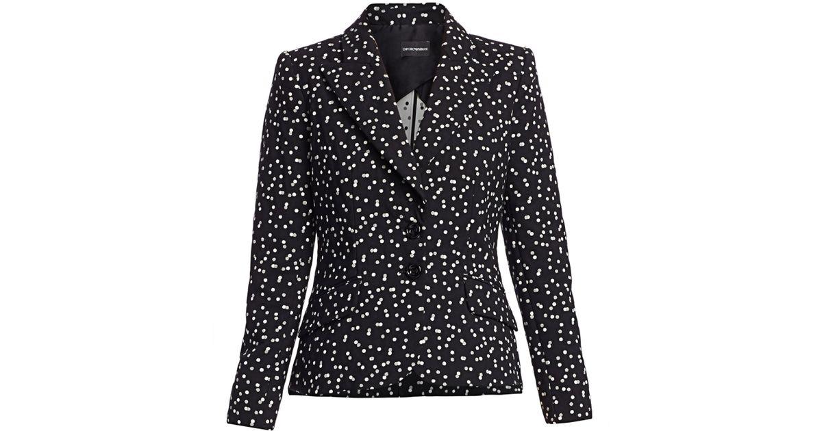 1e98debaba Emporio Armani - Black Women's Polka Dot Stretch Cotton Blazer - Lyst