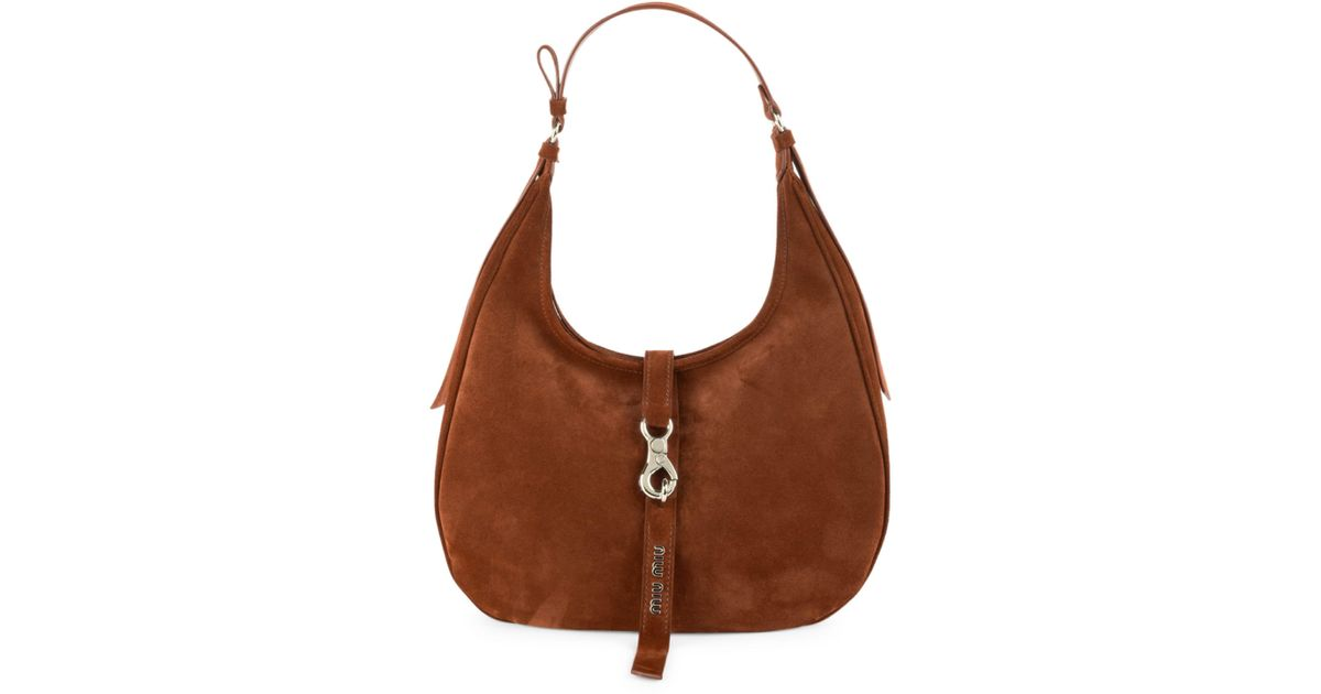 8866fefbf711 Lyst - Miu Miu Medium Leather Hobo Bag in Brown