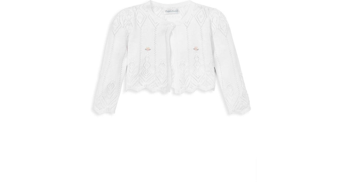 fde69d0d2 Lyst - Ralph Lauren Baby Girl s Pointelle Buttoned Sweater in White