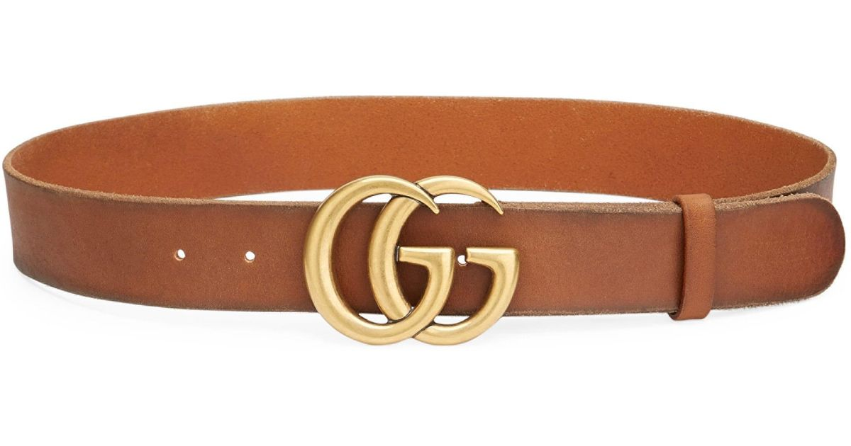 d2f44a2af09 Lyst - Gucci Women s Leather Belt With Double G Buckle - Cuir in Brown