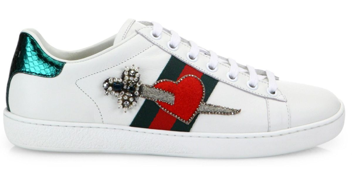 04072686786 Lyst - Gucci Women s New Ace Pierced Heart Leather Sneakers - White - Size  34 (4) in White