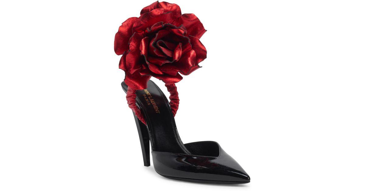 04d17cb0f68 Saint Laurent Freja Flower-applique Patent Leather Pumps in Red - Lyst