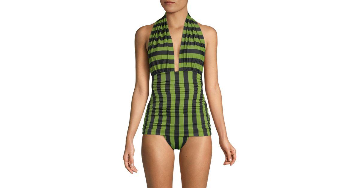 e88d58c23b Norma Kamali Women's Bill Halterneck One-piece Swimsuit - Olive in Green -  Lyst