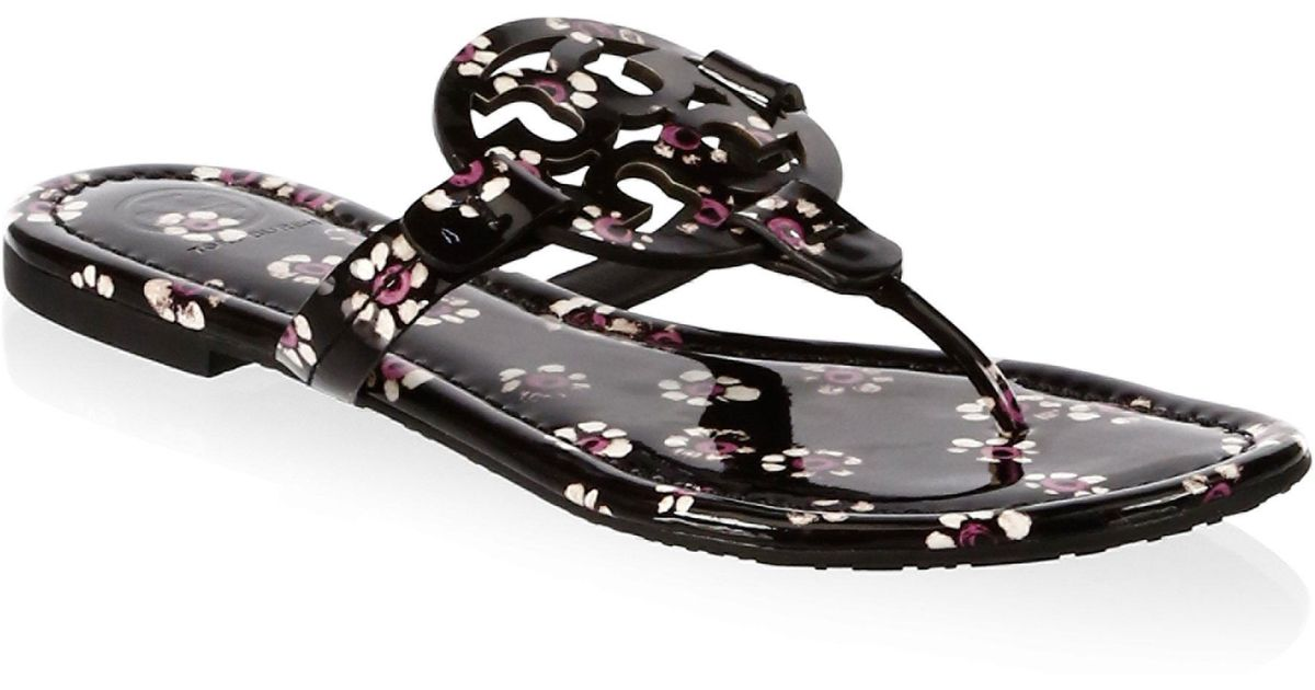 2a3b576fbf93 Tory Burch Miller Floral Leather Thong Sandals in Black - Lyst