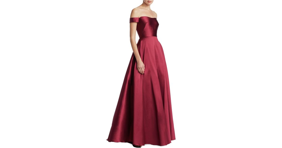 Lyst - Ml Monique Lhuillier Off-the-shoulder Ball Gown in Red