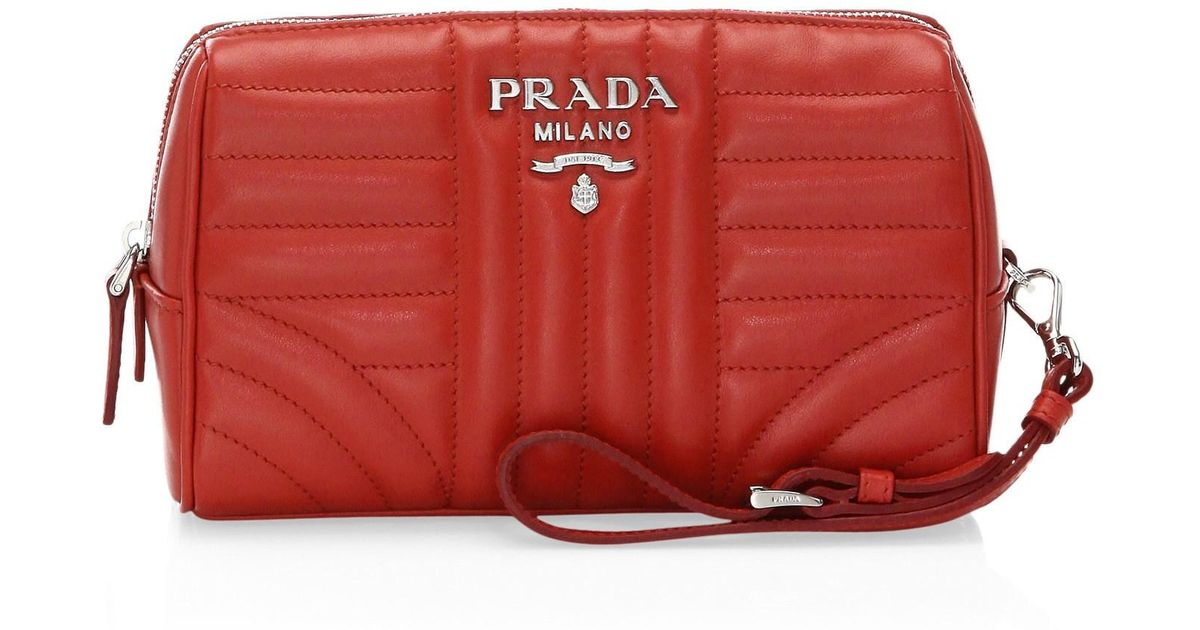 970d0ae71cf5 Prada Women's Quilted Wristlet - Black in Red - Lyst